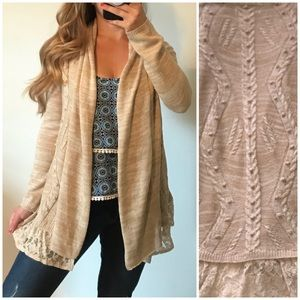FLYING TOMATO Tan Open Knit Lace Cardigan Small